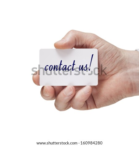 hand holding business card with contact us text - stock photo