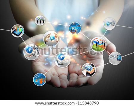 hand holding business diagram