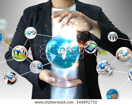 hand holding business diagram - stock photo
