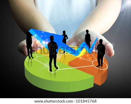 hand holding Business team with a chart - stock photo