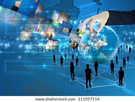 hand holding business world - stock photo