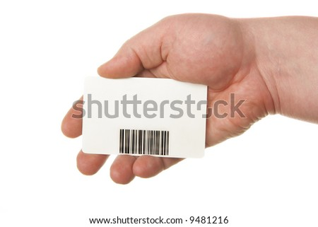 Hand holding card with bar-code isolated over white background