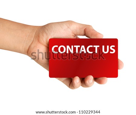 "Hand holding card with inscription ""Contact us"" on white background - stock photo"