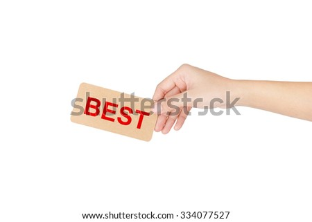 "Hand holding card with red word of ""Best"" isolated on white with clipping path."