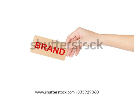"Hand holding card with red word of ""Brand"" isolated on white with clipping path."