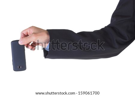 Hand holding cell phone isolated on white background.
