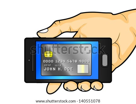 Hand Holding Cell Phone with Credit Card on Screen - stock photo