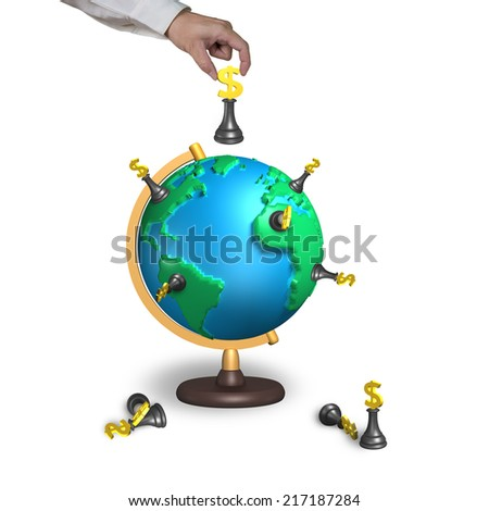 hand holding chess with 3d map terrestrial globe isolated on white - stock photo