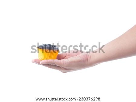 hand holding chocolate cupcake on white background - stock photo