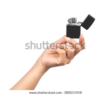 hand holding cigarette lighter isolated on white background