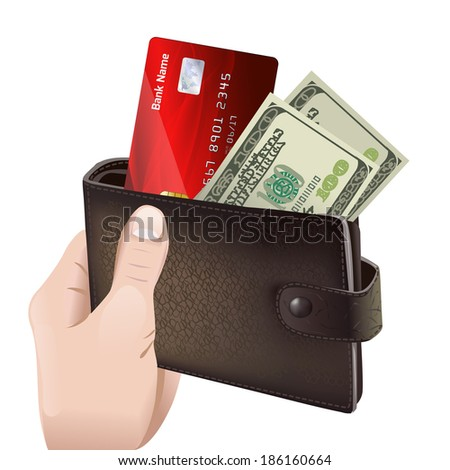 Hand holding classic leather wallet with credit card and money bills isolated  illustration