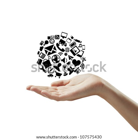 hand holding cloud icons on a white background - stock photo
