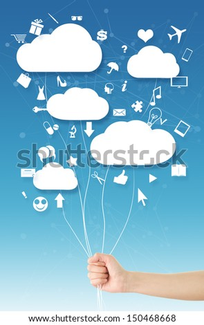 Hand holding clouds(balloons)/Cloud computing concept, where hand holding clouds (balloons) and various web icons floating around them, blue sky abstract shapes background - stock photo
