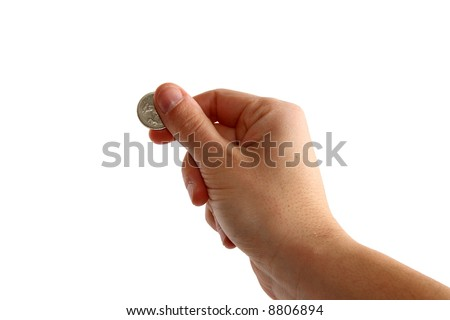 hand holding coin - stock photo