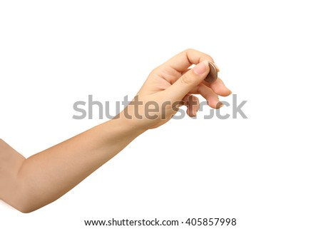 hand holding coin ,isolate white background