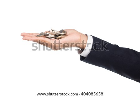 hand holding coin isolayed on white background