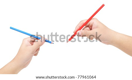 Hand holding color pencil on white background - stock photo