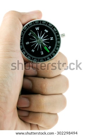 Hand holding Compass isolated on white.