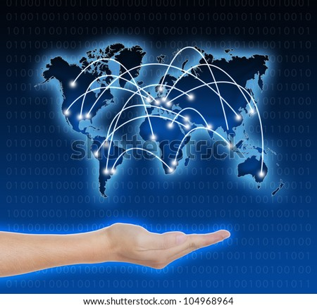 hand holding connected digital network world - stock photo