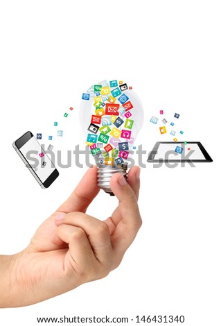 Hand holding creative idea with cloud of colorful application icon, Business software and social media networking service concept, isolated on white background - stock photo