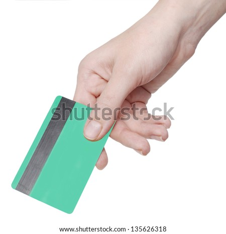 hand holding credit card on white - stock photo