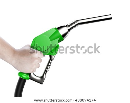 hand holding 3d rendering green gas pump nozzle isolated on white - stock photo
