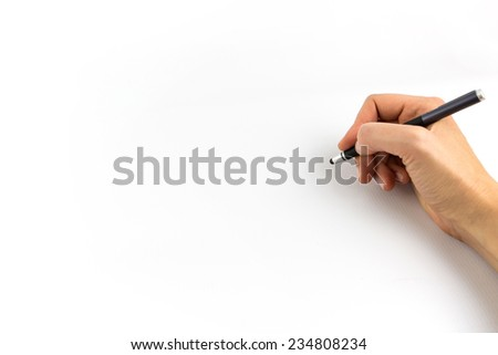 Hand holding digital stylus isolated on white background - stock photo