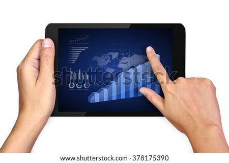 Hand holding digital tablet with analyzing graph on white background