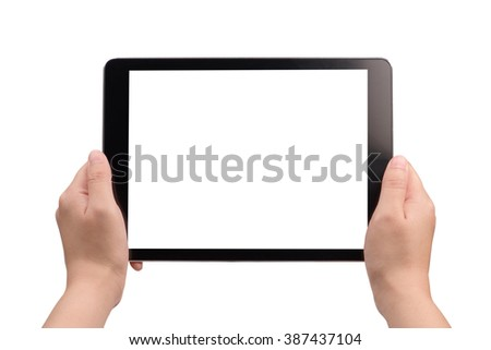 hand holding digital tablet with white screen on white background
