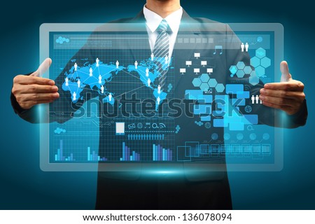 Hand holding digital vurtual screen technology business concept, Creative network information process diagram - stock photo