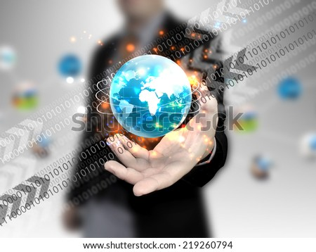 hand holding digital world. - stock photo