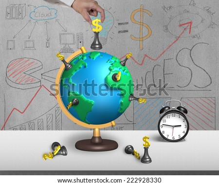 hand holding dollar chess on 3d map terrestrial globe with alarm clock and doodles wall - stock photo