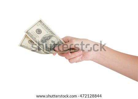 hand holding dollar money for purchasing things with isolated background