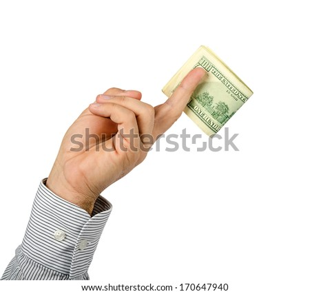 hand holding dollars on a white background - stock photo