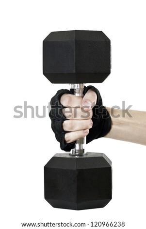 Hand Holding Dumbbell - stock photo