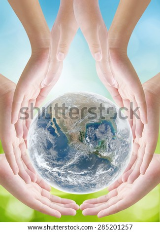 Hand holding earth on nature background ,concept background , Elements of image are furnished by NASA