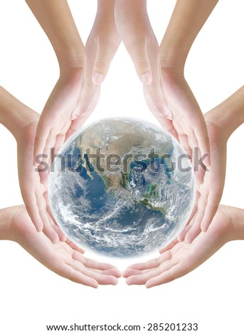 Hand holding earth on white background ,concept background , Elements of image are furnished by NASA