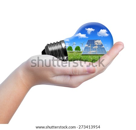 Hand holding eco light bulb  isolated on white background - stock photo
