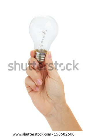 hand holding  electric bulbs isolated on white background