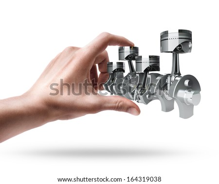 hand holding Engine pistons  isolated on white background High resolution 3d
