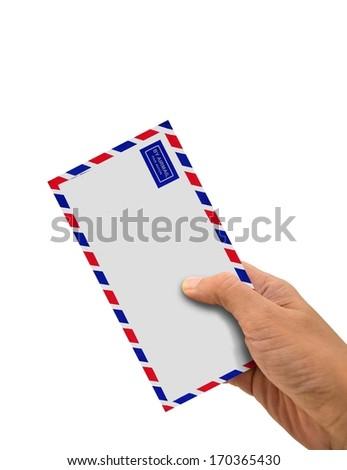 Hand Holding Envelope - stock photo