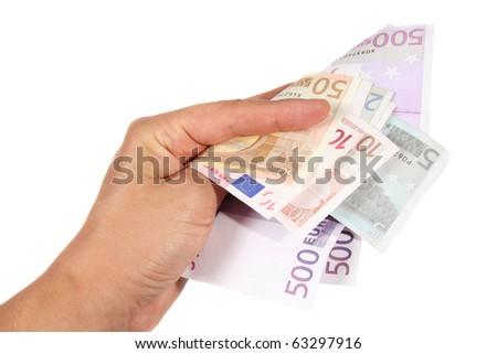 Hand holding euro banknotes - stock photo