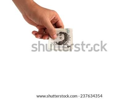 Hand holding euro notes  isolated on white - stock photo