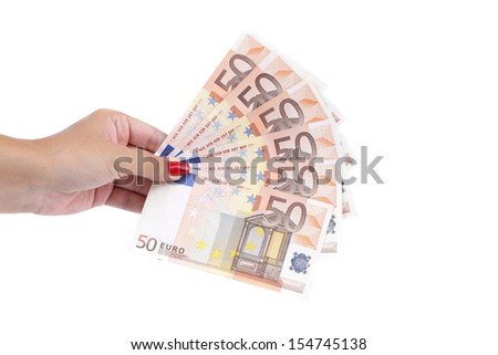 Hand holding fifty-euro notes. Isolated on a white background.