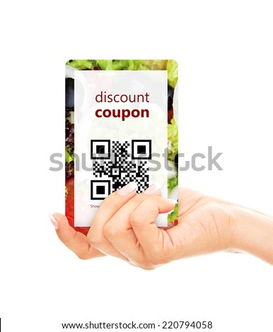 hand holding food discount coupon with qr code isolated over white background - stock photo