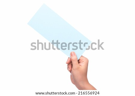 hand holding free ticket or card by hand isolated over white background. Focus on tickets  - stock photo