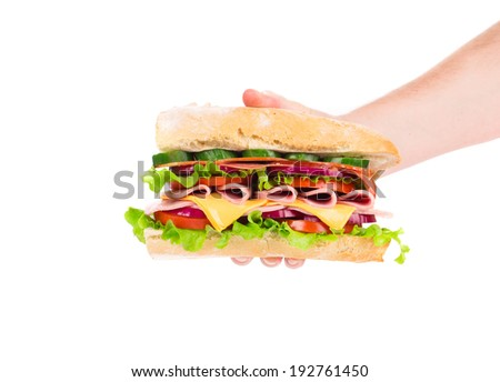 Hand holding fresh sandwich. Isolated on a white background. - stock photo
