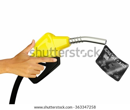 Hand holding Fuel nozzle with Credit card isolated on white background - stock photo