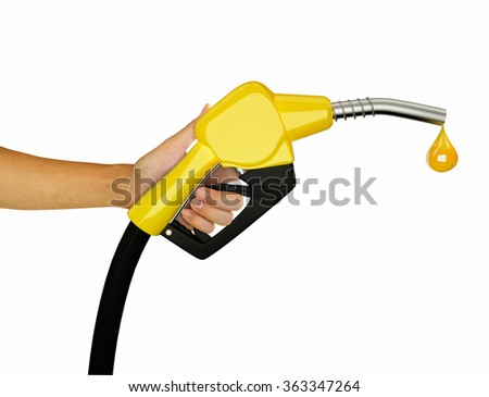 Hand holding Fuel nozzle with hose isolated on white background - stock photo