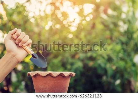 Gardener digs a hole 8